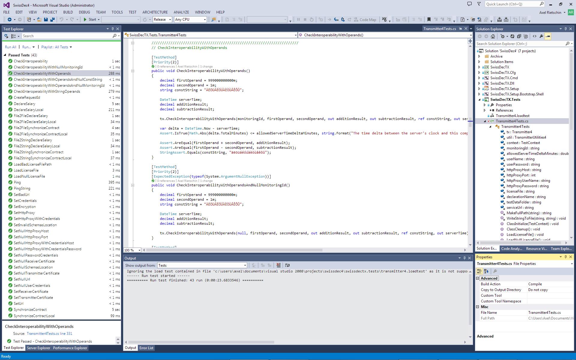 Testing SwissDecTX 4.0x