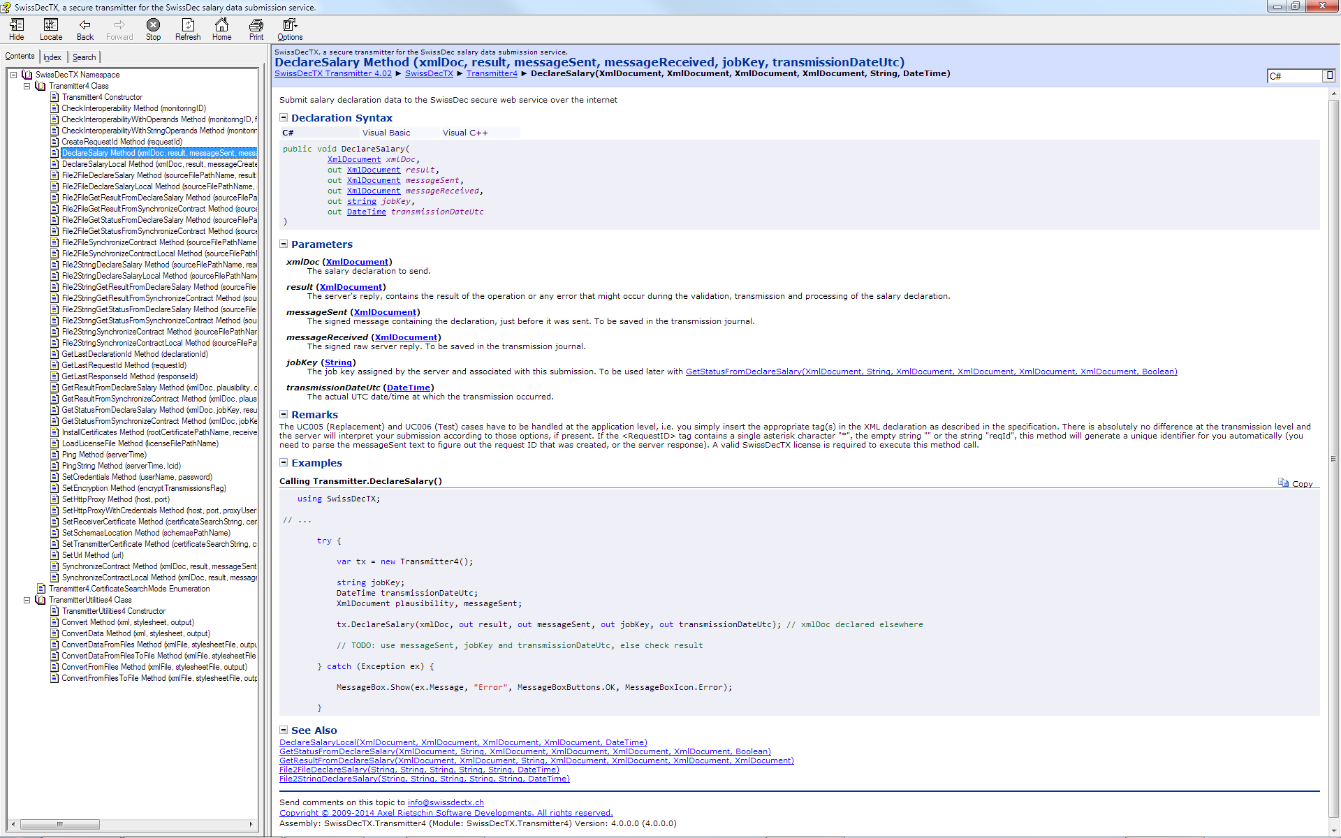 Screenshot of the programmer's help file (API documentation)