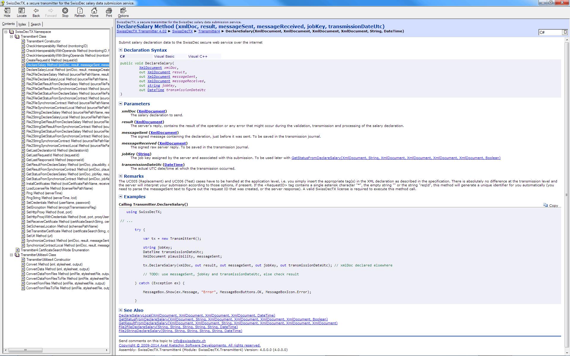 Screenshot of the programmer's help file (API documentation)