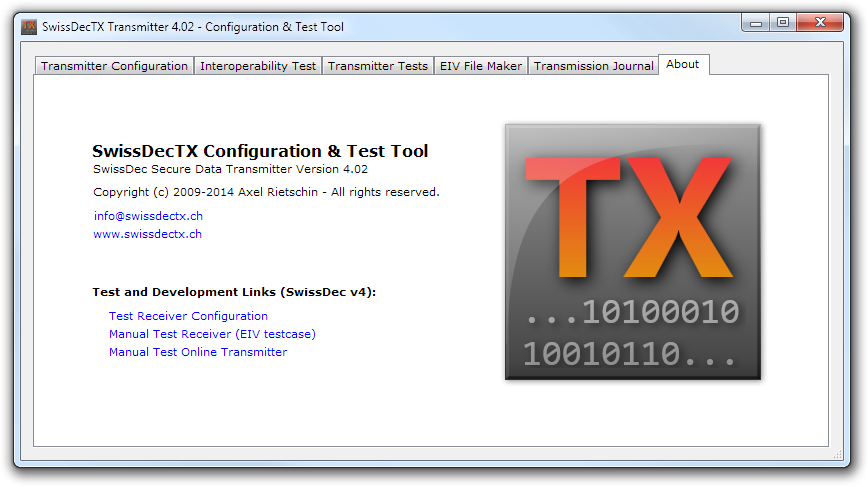 SwissDecTX Transmitter 4.02 - Configuration & Test Tool